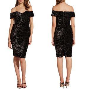 Bardot Bella Velvet Sequin Off Shoulder Dress 8 M